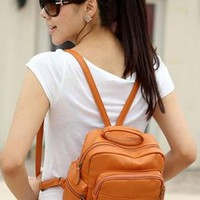 camel tan pu leather small shoulder school backpack handbag from sanhandbag