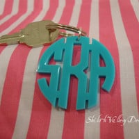 Acrylic Monogram Keychain - Personalized Gift Hand Made Shown in Turquoise