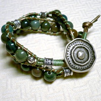 Fancy Green Jasper and Antique Brass Leather Bohemian Wrap Bracelet