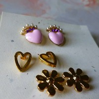 Gold Flowers, Pink Hearts, and Gold Hearts Earring Set
