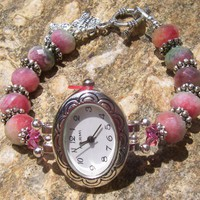 Handcrafted Faceted Watermelon Jade Crystal Bead Watch Bracelet | SisterJewelry - Jewelry on ArtFire