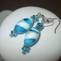 Clouds in the Sky - Sky Blue & White Glass Swirled Earrings | DesignsByAmyB - Jewelry on ArtFire