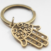 Hamsa Hand of Fatima - Antiqued Brass Vintage Style Key Ring - KR32