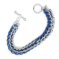 Chainmaille Bracelet Blue and Silver Half Persian Weave