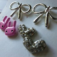 Pink Bunny, Silver Bows, and Crystal Studded Hearts Earrings Set
