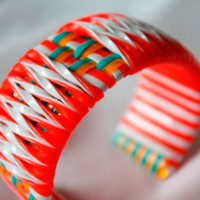 Orange and White Twist Cuff