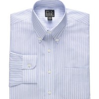 Traveler Buttondown Pinpoint End-on-End Stripe Dress Shirt