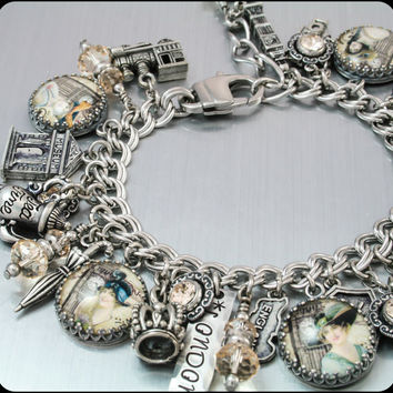 London Charm Bracelet, London Jewelry, England Charm Bracelet, Silver Charm Jewelry, A Foggy Day in London