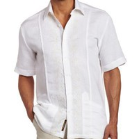 Cubavera Men's Short Sleeve Contrast Panel Guayabera Shirt
