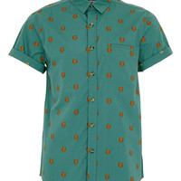 GREEN BEAR PRINT SHORT SLEEVE SHIRT - Short Sleeve Shirts - Men's Shirts  - Clothing