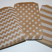 Party Favor Bags - Brown Craft Colored Chevron Stripe & Polka Dot Printed Paper Treat Bags - Bakery Bags 7x5 medium size (30 pcs)