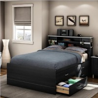 South Shore Cosmos Collection Full-Size Captain's Bed, Black Onyx and Charcoal:Amazon:Home & Kitchen