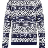 Navy Aztec Jumper - Cardigans & Sweaters - New In - TOPMAN USA
