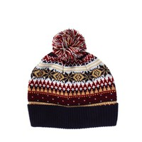 ASOS Bobble Beanie With Snowflake Fairisle Design at asos.com