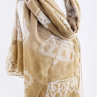 Crown Print Scarf