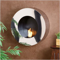 SEI Round Wall Mount Gel Fuel Sconce in Polished Stainless Steel | CSN Stores
