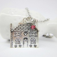 Silver cottage house home scarlet red crystal heart long necklace gift