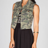 TINSELTOWN Womens Camo Vest