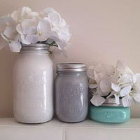Colorful Painted Mason Jars, Wedding Centerpieces, Rustic Home Decor, Desk Accessories, Organization, Bathroom Decor, Painted Vase