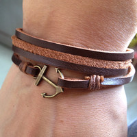 Brown Leather Wrap Around Bracelet with Anchor Hook,Nautical Anchor Bracelet,Anniversary, Birthday Gift,Graduation Gift