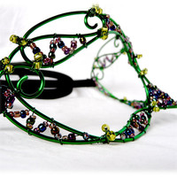 Green and purple womens masquerade mask, costume, accessories, handmade