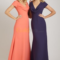[US$189.99] Elegant V-neck Short Cap Sleeve Cowl Neckline Chiffon Evening Dress