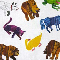 Brown Bear Brown Bear Painted Animals Multi - Discount Designer Fabric -  Fabric.com