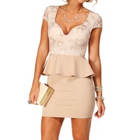 Pre-Order: Cream/Taupe Lace Peplum dress