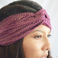 Turban Headband Headwrap Purple Geometric Yoga Workout Twisted Band Headpiece