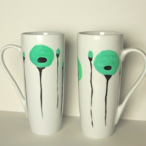 2 elegant white mugs with mint green poppies hand painted | dorisse - Housewares on ArtFire