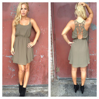 Olive Open Back Ginger Chiffon Dress