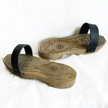 Wooden NALIN CLOGS, Turkish bath house slippers, Vintage womens wood HAMAM shoes, Oriental home decor, Middle Eastern decoration prop