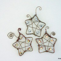 Wire star ornament set of three, upcycle beads copper wire hand crafted