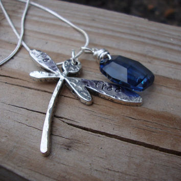 Be Free dragonfly necklace with stunning blue rectangle faceted crystal