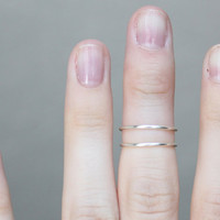 Thin Rings : Set of 2 Thin Silver Rings, Knuckle Ring, Midi Rings, Stacking Rings