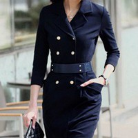 Modern Chic Double Breasted Navy Coat Dress. Military Shirt Dress | GlamUp - Clothing on ArtFire