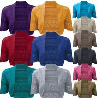 Ladies Bolero Shrug Crochet Knitted Cardigan In Sizes 8-22