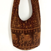 Handmade Cotton Elephant bag Printed Hippie Hobo bag Boho bag Shoulder bag Sling bag Messenger bag Tote bag Crossbody Purse - Brown