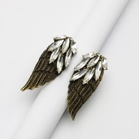Angel Wings Shape Crystal Ring Multi