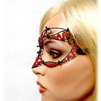 Black and red womens masquerade mask, costume, accessories, handmade