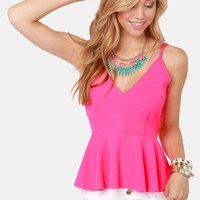 Love At First Bright Neon Pink Peplum Tank Top