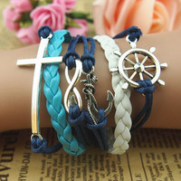 Popular Fashion Accessories Cupid Arrow Of LOVE The Rudder Round Cross Hand Knitting Leather Cord Anchor Bracelets