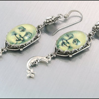 Silver Charm Earrings Man in the Moon Picture by BlackberryDesigns