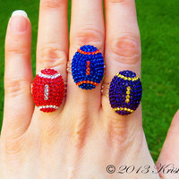 Football Jewelry, Swarovski Crystal Football Ring, Sports Ring, Sporty Jewelry, Crystal Jewelry, Crystal Icing