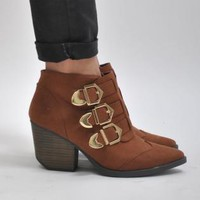Brown Triple Gold Buckle Ankle Boots