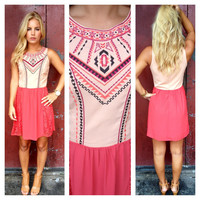 Pink Embroider & Lace Sky Dress