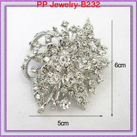 Free Shipping Rhodium Plated Clear Crystal Flower Wedding Bouquet Brooch