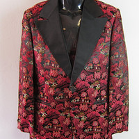 Vintage 1960s 1970s AFTER SIX Brocade Asian Print Tuxedo Jacket mens 39 regular Mad Men Smoking Rockabilly Rocker Blazer