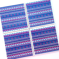 Native American Coasters, Aiyana, Indian, Tribal Ceramic Tile Coasters, Nika Martinez, Purple Blue Home Decor Pink, Tribal Art, Native Art