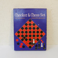 Board Games Vintage 1963 Chess Checkers Backgammon by Whitman